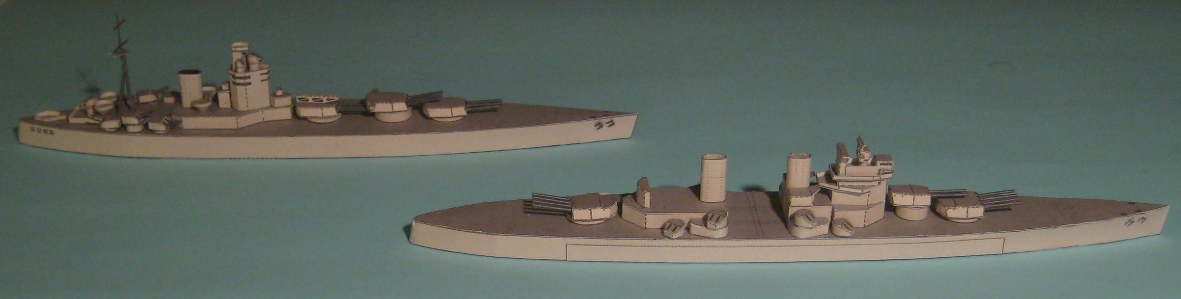 My new 3-D 1:1200 card models of ships, complementing the Airfix